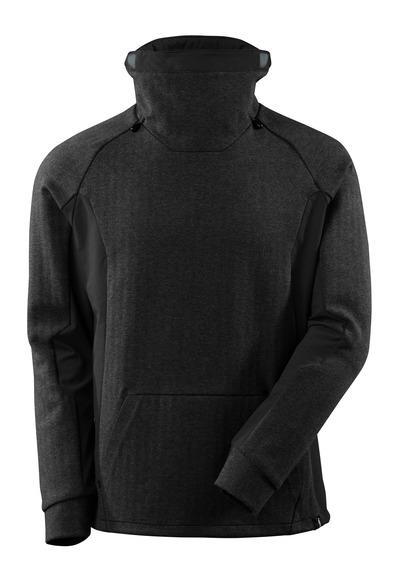 MASCOT® ADVANCED - Schwarz-meliert/Schwarz - Sweatshirt mit regulierbaren Stehkragen, moderne Passform