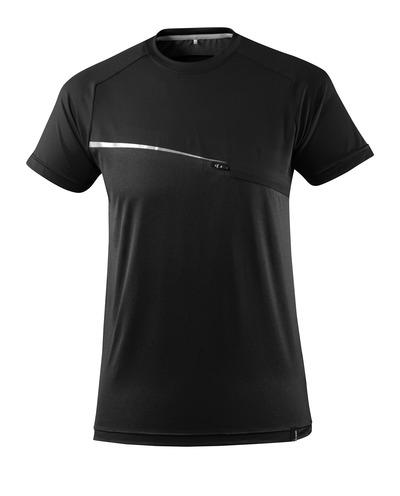 MASCOT® ADVANCED - Schwarz - T-Shirt mit Brusttasche, feuchtigkeitstransportierend, moderne Passform