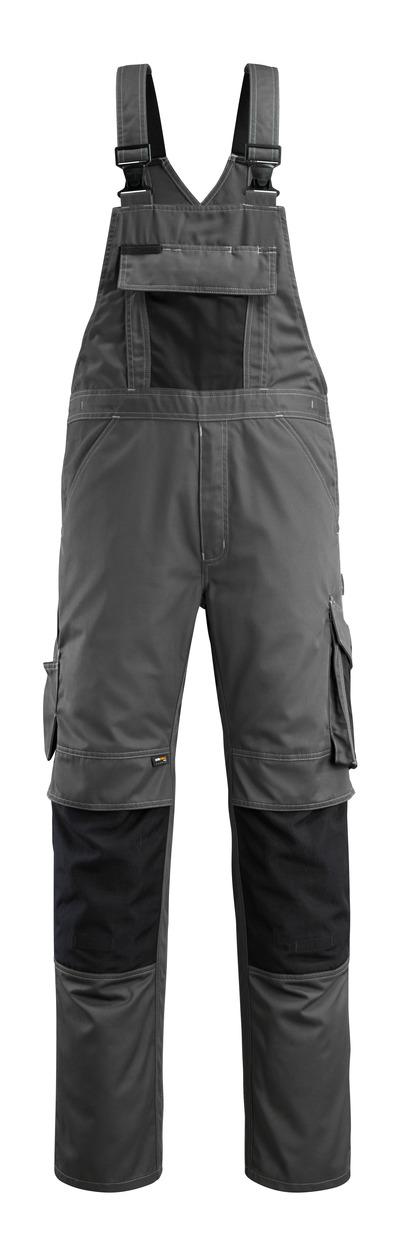 MASCOT® Augsburg - Dunkelanthrazit/Schwarz - Latzhose mit Knietaschen, geringes Gewicht