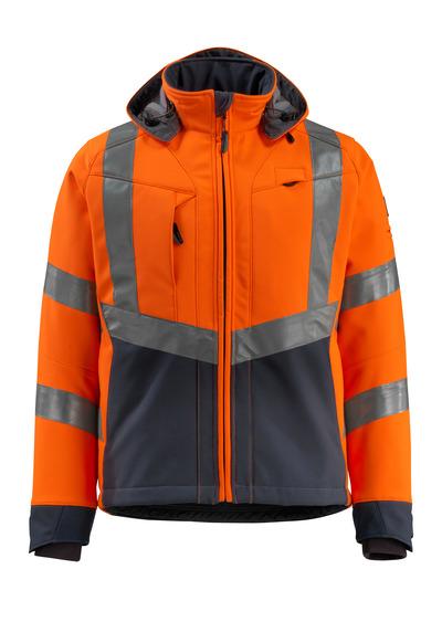MASCOT® Blackpool - hi-vis Orange/Schwarzblau - Soft Shell Jacke mit Fleece innen, wasserabweisend, Klasse 3