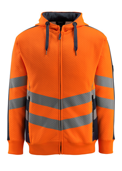 MASCOT® Corby - hi-vis Orange/Schwarzblau - Kapuzensweatshirt, Waffelstruktur, moderne Passform