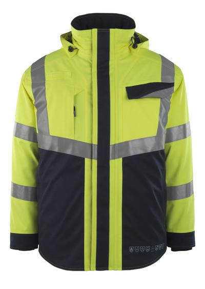 MASCOT® Emmen - hi-vis Gelb/Schwarzblau - Winterjacke mit Steppfutter, wasserdicht, Multischutz, Klasse 2
