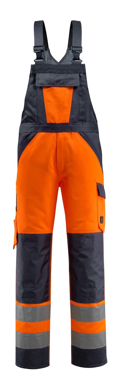 MASCOT® Gosford - hi-vis Orange/Schwarzblau - Latzhose mit Knietaschen, Klasse 2