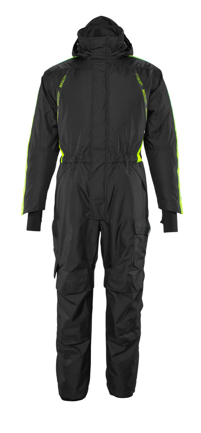 MASCOT® HARDWEAR - Schwarz/hi-vis Gelb - Winteroverall mit Steppfutter und Knietaschen, wasserdicht, geringes Gewicht