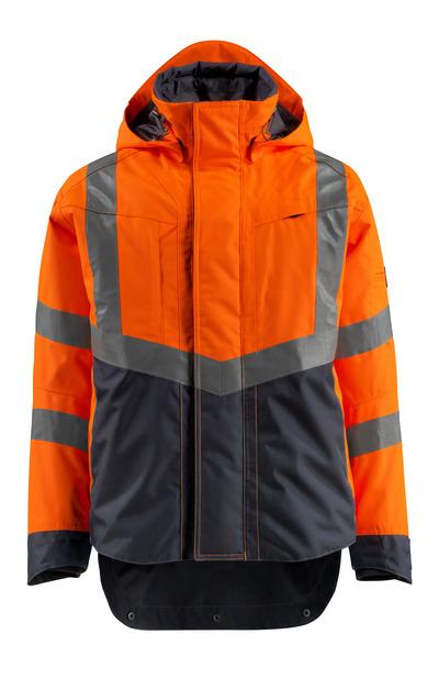 MASCOT® Harlow - hi-vis Orange/Schwarzblau - Hard Shell Jacke, wasserdicht, Klasse 3