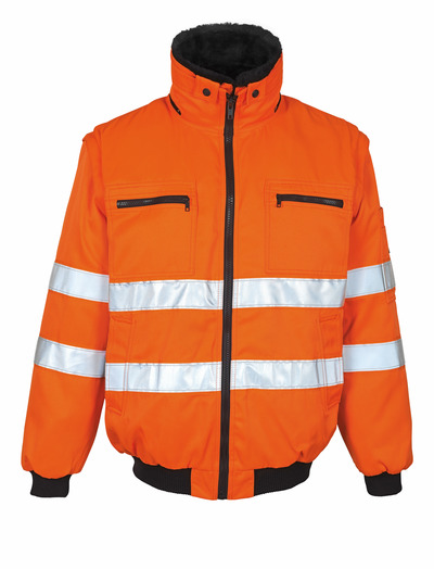 MASCOT® Innsbruck - hi-vis Orange - Pilotjacke mit herausnehmbarem Kunstpelzfutter, wasserabweisend, Klasse 2