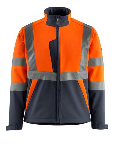 MASCOT® Kiama - hi-vis Orange/Schwarzblau - Soft Shell Jacke mit Fleece innen, Klasse 2