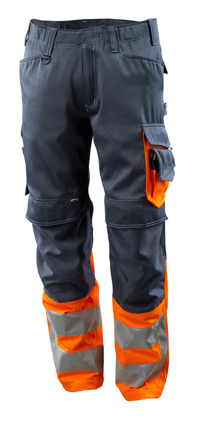 MASCOT® Leeds - Schwarzblau/hi-vis Orange - Hose mit CORDURA® Knietaschen, Klasse 1