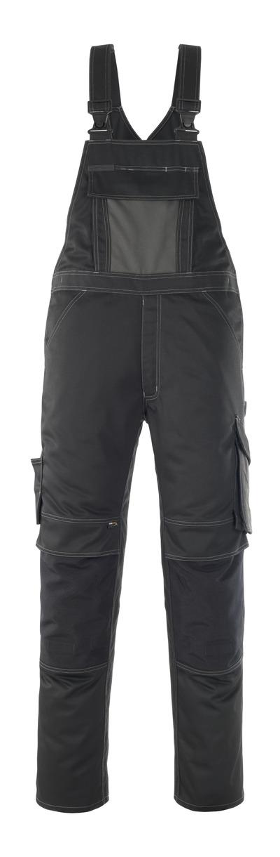 MASCOT® Leipzig - Schwarz/Dunkelanthrazit - Latzhose mit Knietaschen, hohe Strapazierfähigkeit