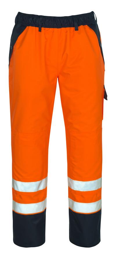 MASCOT® Linz - hi-vis Orange/Marine - Überziehhose mit Knietaschen, wasserdichtes MASCOTEX®, Klasse 1/2