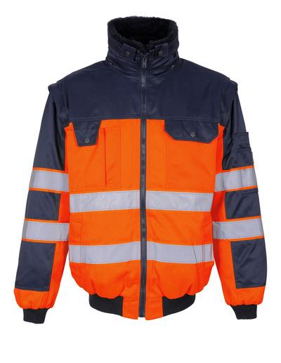 MASCOT® Livigno - hi-vis Orange/Marine - Pilotjacke mit herausnehmbarem Kunstpelzfutter, wasserabweisend, Klasse 2