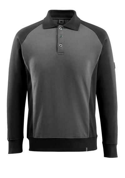 MASCOT® Magdeburg - Dunkelanthrazit/Schwarz - Polo-Sweatshirt, moderne Passform