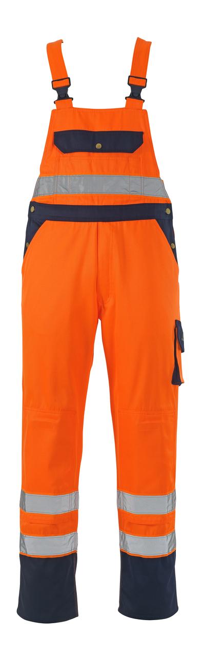 MASCOT® Milano - hi-vis Orange/Marine* - Latzhose mit Knietaschen, Klasse 2/2