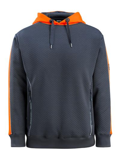 MASCOT® Motril - Schwarzblau/hi-vis Orange - Kapuzensweatshirt mit Hi-Vis Kontrast, Waffelstruktur, moderne Passform