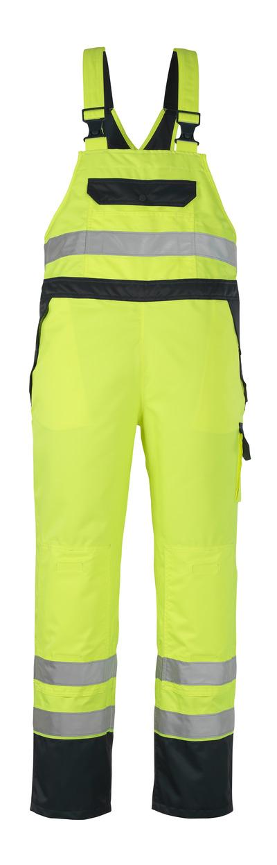 MASCOT® Wels - hi-vis Gelb/Marine - Überziehlatzhose mit Knietaschen, wasserdichtes MASCOTEX®, Klasse 2