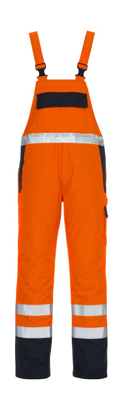 MASCOT® Zug - hi-vis Orange/Marine* - Latzhose mit Futter, Multischutz, wasserdicht, Klasse 2/2